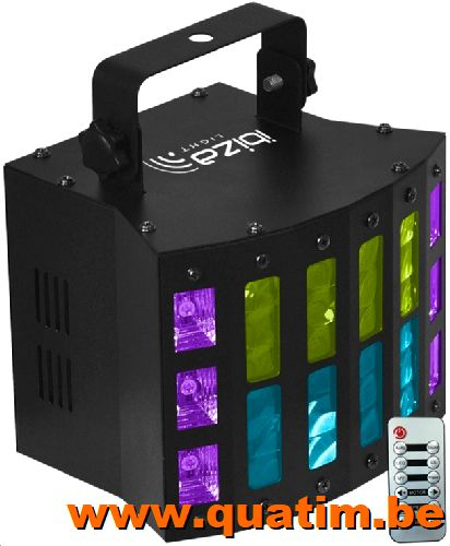 IBIZA Light COMBI-STUV LED DERBY - WIT-UV Stroboscoop met DM