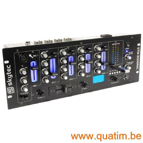 SkyTec STM-3005REC 4-Kanaals Mixer EQ USB/MP3 Record