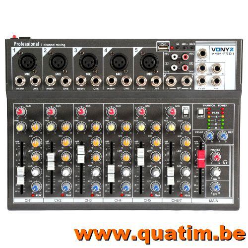 Vonyx VMM-F701 7-Kanaal Muziek Mixer