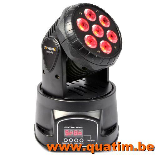 BeamZ MHL74 Mini Moving Head Wash 7X 10W DMX 12-Kanaals Quad