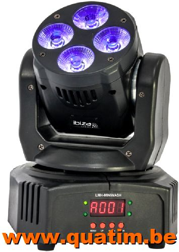 IBIZA Light LMH-MINIWASH Moving Wash 4 x 18W RGBWA LED DMX