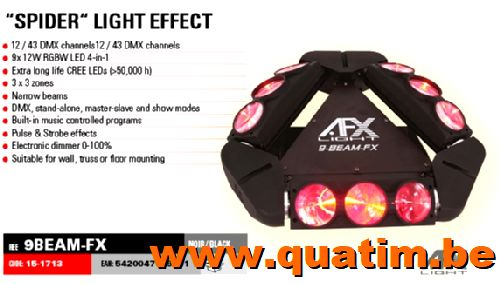 AFX Light 9BEAM-fx 9 x 12W LED RGBW Spider effect